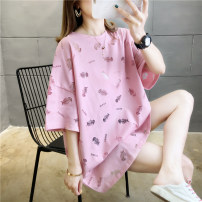 T-shirt Pink green white M L XL 2XL Spring 2020 Short sleeve Crew neck easy Medium length routine commute cotton 71% (inclusive) - 85% (inclusive) 18-24 years old Korean version originality Cartoon animation Love of butterfly junj818 Hollowing out Cotton 82% polyester 18%
