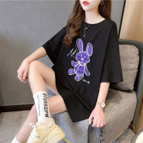 T-shirt Black white grey M L XL 2XL Summer 2021 Short sleeve Crew neck easy Medium length routine commute polyester fiber 51% (inclusive) - 70% (inclusive) 18-24 years old Korean version originality Cartoon letters Love of butterfly junj2925 Embroidery Pure e-commerce (online only)