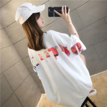 T-shirt White black M L XL 2XL Summer of 2019 Short sleeve V-neck easy Medium length routine commute polyester fiber 51% (inclusive) - 70% (inclusive) 18-24 years old Korean version originality letter Love of butterfly printing Polyester 65% Cotton 30% polyurethane elastic fiber (spandex) 5%