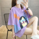 T-shirt Orange purple green M L XL 2XL Summer 2020 Short sleeve Crew neck easy Medium length routine commute polyester fiber 51% (inclusive) - 70% (inclusive) 18-24 years old Korean version originality Cartoon letters Love of butterfly printing Pure e-commerce (online only)
