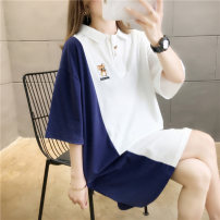 T-shirt White yellow M L XL 2XL Summer 2020 Short sleeve Polo collar easy Medium length routine commute polyester fiber 51% (inclusive) - 70% (inclusive) 18-24 years old Korean version originality Cartoon letters Love of butterfly Embroidery Pure e-commerce (online only)