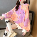 Sweater / sweater Autumn 2020 Pink orange blue orange Average size Long sleeves routine Socket singleton  Plush Hood easy commute routine letter 18-24 years old 96% and above Love of butterfly Korean version polyester fiber junj2327 Embroidery Drawstring Cotton liner Polyester 100%