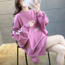 Sweater / sweater Autumn of 2019 Purple white yellow M L XL 2XL Long sleeves Medium length Socket singleton  routine Crew neck easy commute routine letter 18-24 years old 71% (inclusive) - 80% (inclusive) Love of butterfly Korean version polyester fiber YDQ568 printing cotton Cotton liner