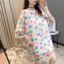 Dress Summer 2020 white Average size Mid length dress singleton  Short sleeve commute Crew neck letter Socket routine 18-24 years old Love of butterfly Korean version Patchwork printing 51% (inclusive) - 70% (inclusive) polyester fiber Polyester 65% Cotton 30% polyurethane elastic fiber (spandex) 5%