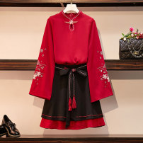Women's large Autumn of 2019 China Red Large L (recommended 95-120 kg) large 1XL (recommended 120-140 kg) large 2XL (recommended 140-160 kg) large 3XL (recommended 160-180 kg) large 4XL (recommended 180-200 kg) Other oversize styles Two piece set commute easy moderate Socket Long sleeves Crew neck