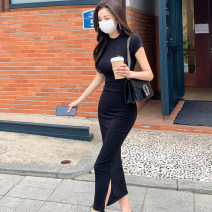 Dress Summer 2021 Black (suit) S,M,L,XL Mid length dress Two piece set Short sleeve commute Crew neck High waist Solid color Socket other routine Others 18-24 years old Type H Korean version 81% (inclusive) - 90% (inclusive) knitting cotton