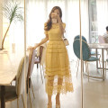 Dress Summer of 2019 Yellow [second hair] S,M,L,XL longuette Two piece set Short sleeve commute Crew neck High waist Solid color zipper Big swing other 18-24 years old Korean version Lace