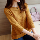 sweater Autumn of 2018 S M L XL three quarter sleeve Socket singleton  Regular other 95% and above Crew neck Thin money commute other Straight cylinder Regular wool Keep warm and warm Hollowing out acrylic fibres Other 100% Pure e-commerce (online only)