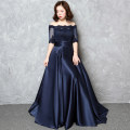 Dress / evening wear Wedding, bar mitzvah, company annual meeting, show and date Xlxxlxxl4xl customized Navy Blue Korean version longuette middle-waisted Winter 2017 Fall to the ground One shoulder Bandage 18-25 years old LF17040 elbow sleeve Solid color Meini Shayuan routine Other 100%