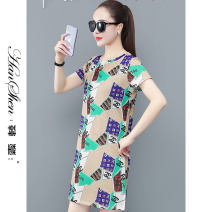 Dress Summer 2021 Pink Green Black M L XL 2XL 3XL longuette singleton  Short sleeve commute Crew neck middle-waisted Decor Socket A-line skirt routine 25-29 years old Type A Han Xin Korean version printing 2702-75-HYLC GJH 81% (inclusive) - 90% (inclusive) polyester fiber