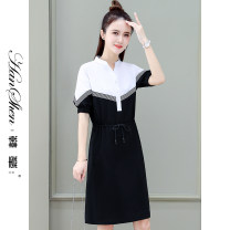 Dress Summer 2021 M L XL 2XL 3XL Mid length dress singleton  Short sleeve commute stand collar Loose waist Solid color Socket A-line skirt routine 25-29 years old Type H Han Xin Korean version Color fixing with stitching resin 30% and below brocade nylon Pure e-commerce (online only)