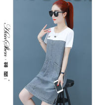 Dress Summer 2021 Black and white S M L XL longuette singleton  Short sleeve commute Crew neck High waist Solid color Socket A-line skirt routine straps 25-29 years old Type A Han Xin Korean version Splicing 88691-58-XW LJ More than 95% Denim cotton Cotton 100% Pure e-commerce (online only)