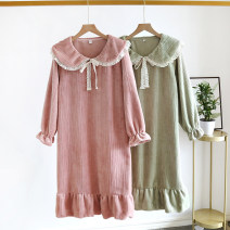 Nightdress Other / other Flannel skirt art powder, flannel skirt art green 160(M),165(L) Sweet Long sleeves Middle-skirt winter Solid color youth Polyester (polyester) More than 95%