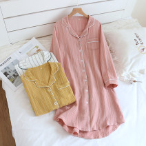 Nightdress Other / other Crepe vertical skirt powder, crepe vertical skirt white, crepe vertical skirt yellow 160(M),165(L),170(XL) Simplicity Long sleeves Leisure home Middle-skirt spring stripe youth Small lapel cotton printing More than 95% pure cotton 200g and below