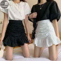 skirt Winter 2016 S,M,L Black, white Short skirt Versatile High waist A-line skirt Solid color Type A 18-24 years old 30% and below Other / other cotton