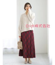 skirt Winter 2020 Average size Gray, brown, brown, dark orange, dark green, red longuette commute Natural waist Pleated skirt Solid color Type A 25-29 years old 51% (inclusive) - 70% (inclusive) polyester fiber fold
