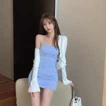 Lace / Chiffon Spring 2021 S M L Long sleeves commute Cardigan Two piece set Self cultivation Medium length V-neck Solid color routine 18-24 years old Hua Xian 6065# Hollowing out Korean version 31% (inclusive) - 50% (inclusive) Other 100% Pure e-commerce (online only)