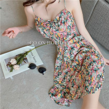 Dress Summer 2020 Blue Pink XL S M L Short skirt singleton  Sleeveless commute V-neck High waist Decor Socket A-line skirt camisole 18-24 years old Type A Hua Xian Korean version Auricular bandage LBSE46951 More than 95% other Other 100% Pure e-commerce (online only)
