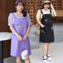 Women's large Summer 2021 Purple, black Big XL, big XXL, big XXXL, 4XL Dress Two piece set Sweet easy thin Socket Short sleeve other Crew neck routine other puff sleeve 25-29 years old Embroidery Medium length college