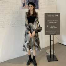 Dress Spring 2021 Picture color M L XL XXL 3XL Mid length dress singleton  Long sleeves commute Crew neck Loose waist Decor A-line skirt other straps 18-24 years old Type A Kotaff Korean version More than 95% polyester fiber Polyester 100% Exclusive payment of tmall