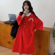 Women's large Summer 2021 Black red M L XL T-shirt singleton  commute easy Socket Short sleeve letter Korean version Polo collar routine printing and dyeing routine KTFD1097 Kotaff 18-24 years old Polyester 65% Cotton 30% polyurethane elastic fiber (spandex) 5% Pure e-commerce (online only)