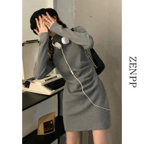 Dress Spring 2021 Grey black S M Short skirt singleton  Long sleeves Sweet High collar High waist Solid color Socket A-line skirt routine Others 18-24 years old ZENPP 21XZ0165 More than 95% other Other 100% Pure e-commerce (online only)