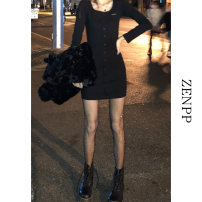 Dress Spring 2021 black Average size Short skirt singleton  Long sleeves street square neck High waist Solid color Single breasted A-line skirt routine Others 18-24 years old ZENPP 21XZ0164 More than 95% other Other 100% Pure e-commerce (online only)