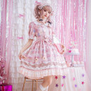 Dress Summer of 2019 S M L XL Mid length dress singleton  Short sleeve Sweet Doll Collar High waist Decor Socket Princess Dress Princess sleeve Others 18-24 years old Type A Xiaoyi Bow print More than 95% Chiffon polyester fiber Polyester 95% cotton 5% Lolita Pure e-commerce (online only)