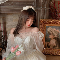 Dress Spring 2021 Milky white (can be worn twice), pink (can be worn twice) S < about 22 days >, m < about 22 days >, l < about 22 days >, s < about 30 days of the second batch >, m < about 30 days of the second batch >, l < about 30 days of the second batch > Short skirt Fake two pieces Long sleeves