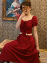 Dress Summer 2021 Lace up red (short), lace up red (long), lace up blue (short), lace up blue (long) S,M,L,XL Mid length dress singleton  Short sleeve commute V-neck High waist Solid color Socket A-line skirt puff sleeve Others 18-24 years old Type A Retro other polyester fiber