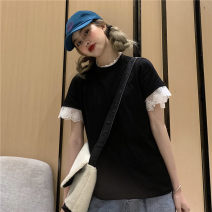 Women's large Summer 2020 Black and white M L XL T-shirt singleton  commute thin Socket Short sleeve Cartoon letters Korean version Crew neck cotton Petal sleeve HZT2600 Miss Song 18-24 years old Cotton 100% Pure e-commerce (online only) other