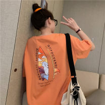 Women's large Summer 2020 Orange apricot white M L XL T-shirt singleton  commute easy thin Socket Short sleeve Cartoon letters Crew neck routine cotton routine HZT2233 Miss Song 18-24 years old Polyester 63.4% cotton 34.1% polyurethane elastic fiber (spandex) 2.5% Pure e-commerce (online only)