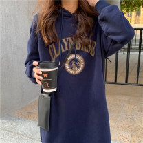 Women's large Winter 2020 Coffee dark blue grey Average size Sweater / sweater singleton  commute easy thickening Socket Long sleeves letter Korean version Hood Medium length routine ZM0002907 Miss Song 25-29 years old Polyester 100% Pure e-commerce (online only)