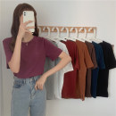 T-shirt Dark dark green brick red Camel Brown purple red black white light gray brown M L XL Summer 2021 Short sleeve Crew neck easy Regular routine commute cotton 96% and above 18-24 years old Korean version Solid color Miss Song AA165 Cotton 100% Pure e-commerce (online only)