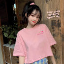 Women's large Summer 2020 M L XL T-shirt singleton  commute easy thin Socket Short sleeve Cartoon letters Korean version Crew neck routine cotton routine Miss Song 18-24 years old Polyester 63.4% cotton 34.1% polyurethane elastic fiber (spandex) 2.5% Pure e-commerce (online only)