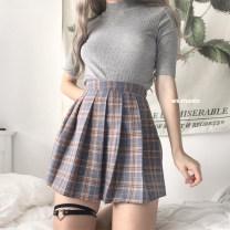 skirt Summer of 2019 XS,S,M,L,XL Gray grid, pink grid, Navy grid Short skirt High waist Pleated skirt Type A