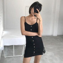 Dress Summer of 2019 Black, white, red, army green, pink S, M singleton  V-neck Solid color camisole