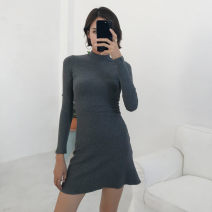 Dress Autumn of 2019 Black, dark flower grey S, M Short skirt singleton  Long sleeves stand collar High waist Solid color Socket A-line skirt routine Type A