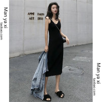 Dress Summer of 2019 black S M L XL Mid length dress singleton  Sleeveless commute V-neck High waist Solid color Socket One pace skirt other camisole 18-24 years old Type H Manyashi Korean version More than 95% knitting other Other 100.00% Pure e-commerce (online only)
