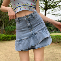 skirt Summer 2021 S,M,L blue Short skirt street High waist other Solid color Type A 18-24 years old SWMAD10079 51% (inclusive) - 70% (inclusive) other cotton Resin fixation Europe and America