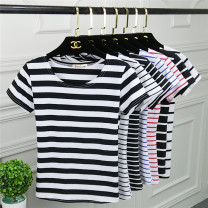 T-shirt Thick and wide stripes, wide white stripes, wide black stripes, fine white stripes, fine red stripes, fine blue stripes, fine black stripes M. L, XL, 2XL, 3XL, pay attention to the store and give small gifts Summer of 2019 Short sleeve Crew neck Self cultivation Regular routine commute cotton
