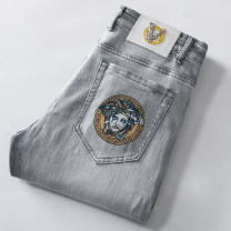 Jeans other Others 28,29,30,31,32,33,34,36,38 Grey q9305, blue grey q9311 Thin money Micro bomb Regular denim trousers Other leisure summer youth middle-waisted Slim feet tide 2021 Little straight foot zipper washing Three dimensional tailoring cotton
