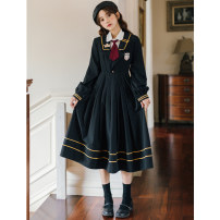 Dress Spring 2021 Regular shirt with black JK dress S,M,L,XL longuette Two piece set Long sleeves Sweet Admiral High waist Solid color Socket Pleated skirt routine Others 18-24 years old Type A 51% (inclusive) - 70% (inclusive) brocade college