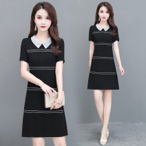 Dress Summer 2020 black M,L,XL,2XL,3XL,4XL Middle-skirt Short sleeve commute Doll Collar middle-waisted Korean version other