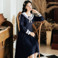 Dress Autumn 2020 Navy Blue S,M,L Mid length dress singleton  Long sleeves commute Admiral High waist Solid color Socket A-line skirt shirt sleeve Others 18-24 years old Type A Retro bow BR2013R0096S 31% (inclusive) - 50% (inclusive) brocade cotton