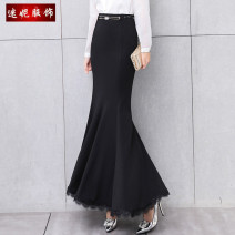 skirt Spring 2021 XS,S,M,L,XL,2XL,3XL longuette commute High waist skirt Solid color Type X 30-34 years old More than 95% other polyester fiber Korean version 401g / m ^ 2 (inclusive) - 500g / m ^ 2 (inclusive)