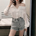 shirt white S M L XL Spring 2020 other 96% and above Long sleeves commute Regular One word collar Single row multi button routine Solid color 18-24 years old High waist type Dorothy Korean version Three dimensional decorative button Other 100% Pure e-commerce (online only)