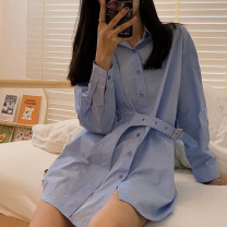 shirt Blue black S M L XL Spring 2021 other 96% and above Long sleeves commute Medium length Polo collar Single row multi button routine Solid color 18-24 years old Straight cylinder Dorothy Simplicity GPGE23306 Tie button Other 100% Pure e-commerce (online only)