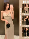 Dress Summer 2021 Black champagne S M L XL longuette singleton  Sleeveless commute V-neck High waist Solid color Socket A-line skirt routine camisole 18-24 years old Type A Dorothy Korean version A62 More than 95% other Other 100% Pure e-commerce (online only)