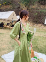 Dress Summer 2021 Green Beige S M L XL Mid length dress singleton  Short sleeve commute V-neck High waist Solid color Single breasted A-line skirt bishop sleeve Others 25-29 years old Type A Dorothy Korean version Pocket strap zipper M0A031004L03 More than 95% other Other 100%